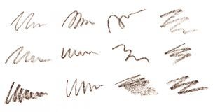Free Set Of Brow Or Eye  Liner Pencil Squiggles Isolated On White Background  - Image Royalty Free Stock Images - 170067449