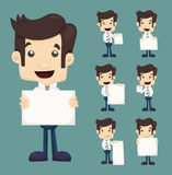 Set Of Businessman Holding Blank Notes Characters Poses Stock Photos