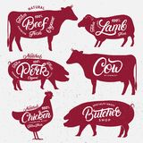 Set Of Butchery Logos, Labels, Emblems, Posters Templates. Stock Photo