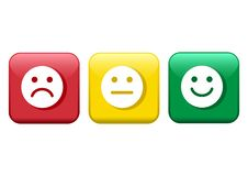Free Set Of Buttons. Red, Yellow, Green Smileys Emoticons Icon Negative, Neutral And Positive, Different Mood. Vector Stock Image - 147640341
