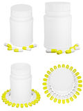 Set Of Capsule Pills And White Plastic Bottle. Stock Images