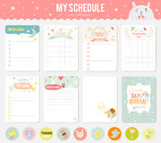Set Of Cards, Notes And Stickers With Cute Royalty Free Stock Image