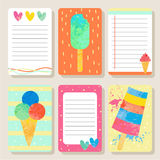 Set Of Cards With Icecream. Royalty Free Stock Photos