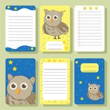 Set Of Cards With Owl. Stock Photo