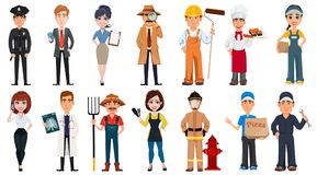 Set Of Cartoon Characters With Various Occupations. Stock Photos