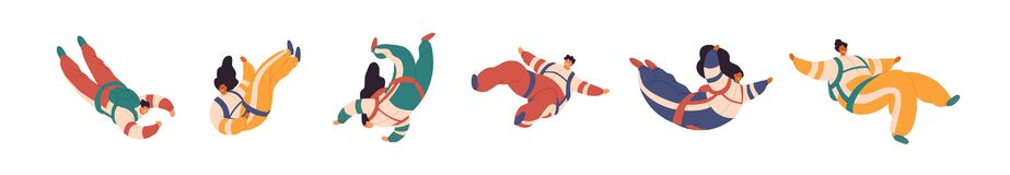 Free Set Of Cartoon Colorful Free Fall People Vector Flat Illustration. Collection Of Active Man And Woman Flight In Suspense Royalty Free Stock Photography - 183378957