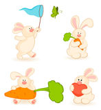 Set Of Cartoon Little Toy Bunny Royalty Free Stock Photography
