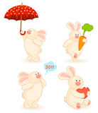 Set Of Cartoon Little Toy Bunny Royalty Free Stock Images