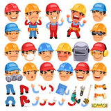 Set Of Cartoon Worker Character For Your Design Or Stock Photo
