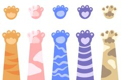 Free Set Of Cat`s Paws. Colored Decorative Cat Paws In Cartoon Style Stock Photography - 181016922
