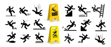 Free Set Of Caution Symbols With Stick Figure Man Falling. Falling Down The Stairs And Over The Edge. Wet Floor, Tripping On Stairs. Wo Royalty Free Stock Photos - 122421158