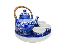Set Of Chinese Blue White Ceramic Tea Pottery Isolated Stock Photo