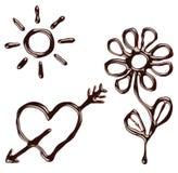 Set Of Chocolate Syrup Symbols Stock Image