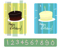 Set Of Chocolate & Vanilla Birthday Cakes With Numbered Candles Stock Image