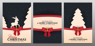 Free Set Of Christmas And New Year Banners. Xmas Greeting Card With Red Bow And Snowflakes. Stock Photo - 164446400