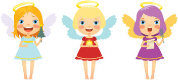 Set Of Christmas Angels Stock Images