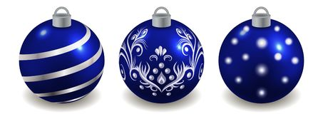 Free Set Of Christmas Balls Isolated On White, Blue With Silver Decor. Toys For New Year Or Christmas Tree Design  Ornate With Pattern Royalty Free Stock Photo - 160751145