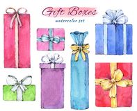 Free Set Of Christmas Colorful Gift Boxes. Royalty Free Stock Photography - 165638247
