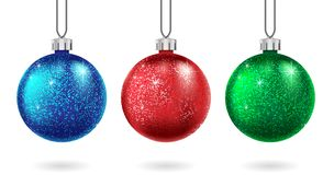 Free Set Of Christmas Red, Blue And Green Ball Isolated. Sparkling Glitter Bauble. Christmas And New Year Bauble For Cards Stock Photo - 130270370