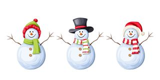 Set Of Christmas Snowmen. Vector Illustration. Royalty Free Stock Image