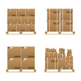 Set Of Closed Brown Carton Delivery Boxes Royalty Free Stock Images