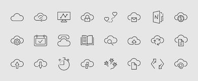 Set Of Cloud Vector Line Icon. It Contains Symbols To Upload, Download, Link And More. Editable Move. 32x32 Pixels. Royalty Free Stock Photos