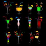Set Of Cocktails On Black Background Stock Photos