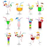 Set Of Cocktails On White Background