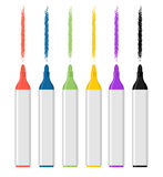 Set Of Colored Felt-tip Pens On White Background. Marker Trace. Royalty Free Stock Photo