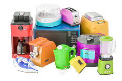 Set Of Colored Kitchen Home Appliances. Toaster, Kettle, Coffeemaker, Microwave Stock Images