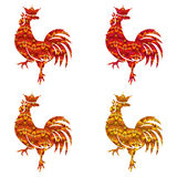 Set Of Colored Silhouettes Of Roosters Isolated On White Background. Bird With Ornament. Chinese Traditional Zodiac. Stock Photography