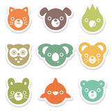 Set Of Colorful Animal And Bird Face Stickers Royalty Free Stock Photo