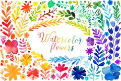 Set Of Colorful Autumn Leaves. Vector Illustration.vector Set Of Red Autumn Watercolor Leaves And Berries, Hand Drawn Design Royalty Free Stock Photography