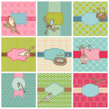 Set Of Colorful Cards With Vintage Birds Stock Image