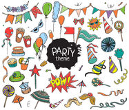 Free Set Of Colorful Party Objects Hand Drawn On White Background Royalty Free Stock Photography - 68732917