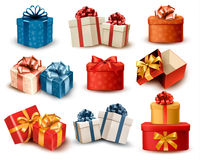 Set Of Colorful Retro Gift Boxes With Bows And Rib Royalty Free Stock Images