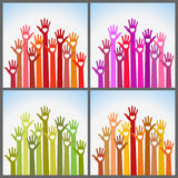 Set Of Colorful Volunteers Caring Up Hands Hearts Royalty Free Stock Photography