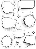 Set Of Comic Speech Talking Bubbles With Dots Shadow. Vector Ill Stock Photography