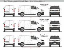 Free Set Of Compact L1 Cargo Mini Vans 2016 Royalty Free Stock Images - 188804109
