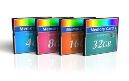 Set Of CompactFlash Memory Cards Stock Photo