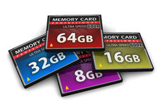 Set Of CompactFlash Memory Cards Royalty Free Stock Photo