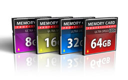 Set Of CompactFlash Memory Cards Royalty Free Stock Photography