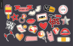 Set Of Contemporary Girly Patches Elements Royalty Free Stock Photo