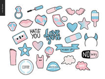 Set Of Contemporary Girly Patches Elements Stock Image