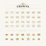 Set Of Crown Line And Bold Icons Stock Photos