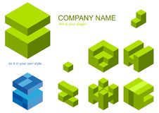 Set Of Cube Pieces For Logo Stock Photography