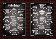 Set Of Cups With Different Coffee Drinks For Restaurant Menu Stock Images