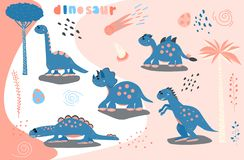 Free Set Of Cute Cartoon Dinosaur. Print For Children`s T-shirts, Sweaters. Greeting Card. Stickers Vector Illustration Royalty Free Stock Images - 142849539
