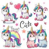 Set Of Cute Cartoon Unicorns Royalty Free Stock Photography