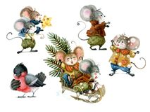 Free Set Of Cute Christmas Mice In Cartoon Style. Watercolor Christmas Illustration Stock Images - 159099744